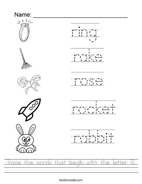 Letter R Worksheet for Kindergarten Trace the Words that Begin with the Letter R Worksheet