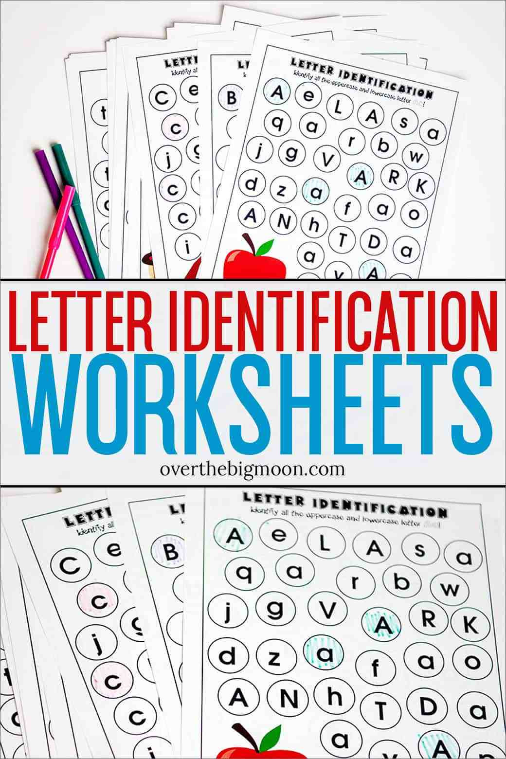 Letter Recognition Printable Worksheets Full Alphabet Letter Identification Printables