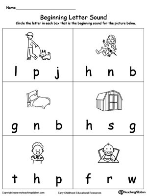 Letter sound Worksheets for Kindergarten Beginning Letter sound Ed Words
