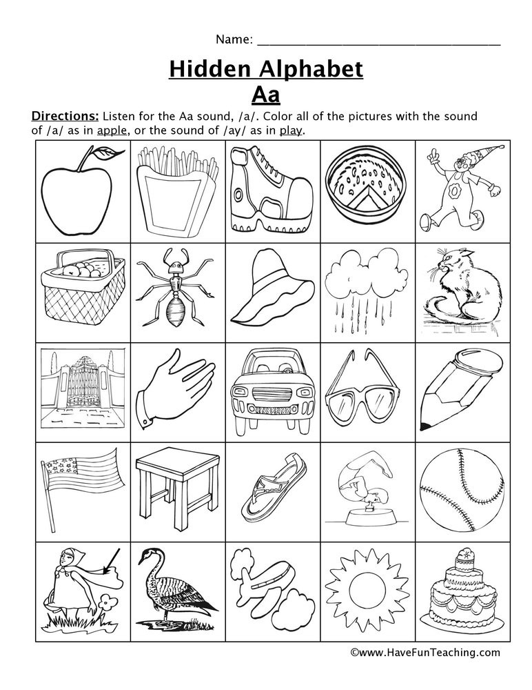 letter a sound worksheet