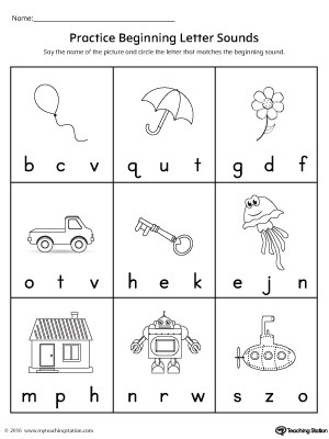 Practicing Beginning Letter Sound Worksheet