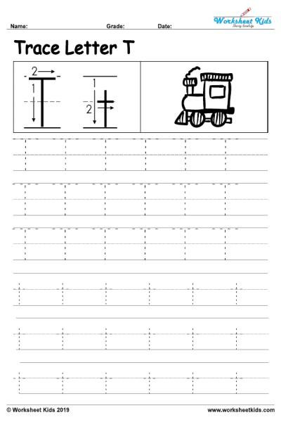 Alphabet letter T writing practice sheet 001