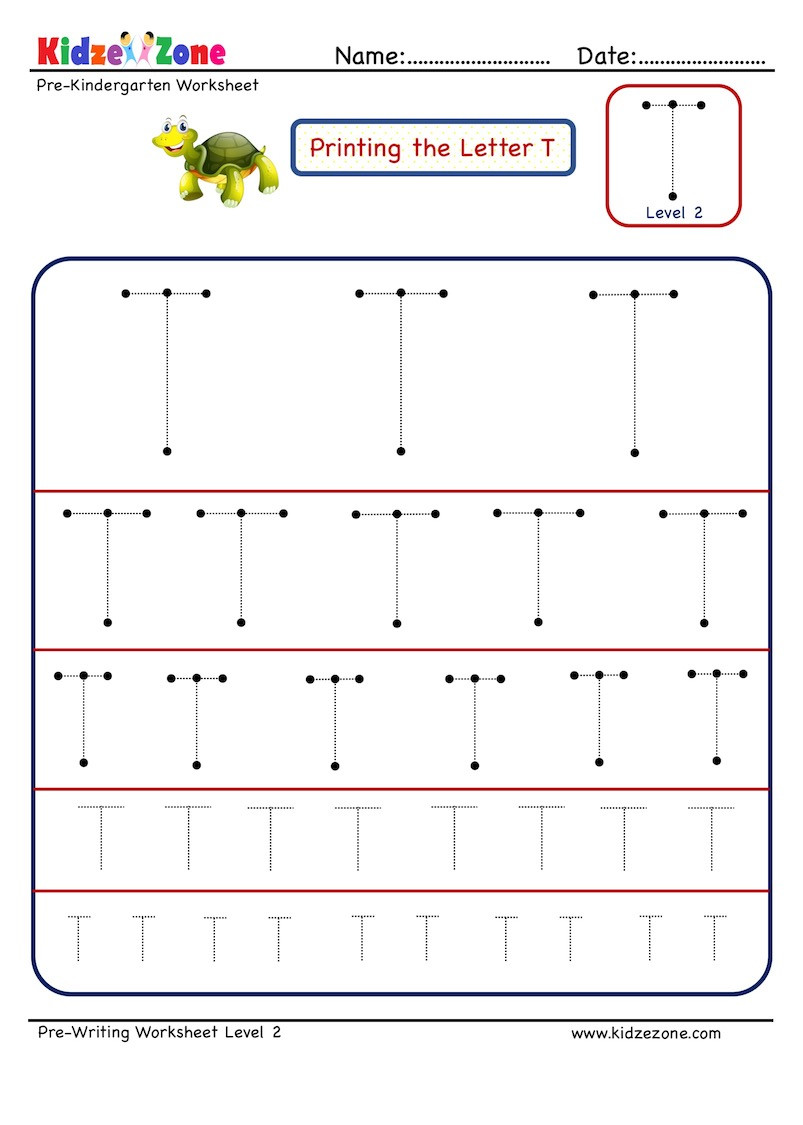 Pre Writing Letter T Tracing worksheet Different Sizes