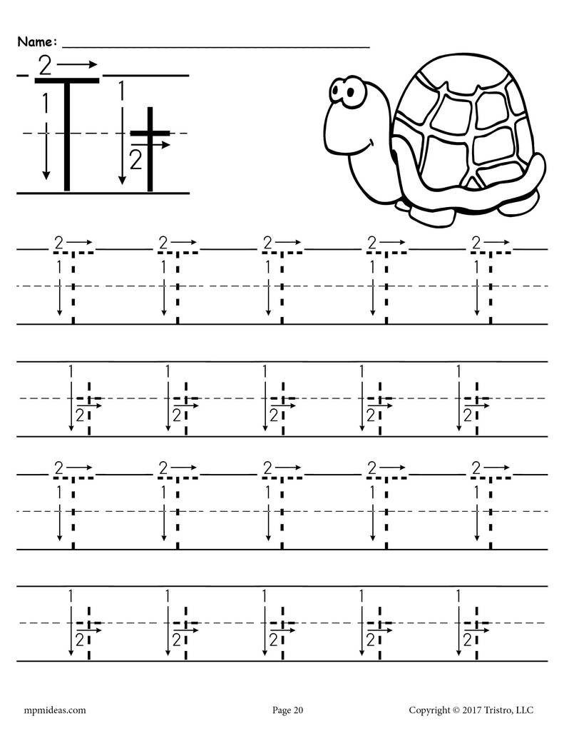 Letter 20T 20Tracing 20Worksheet 20With 20Number 20and 20Arrow 20Guides 1024x1024