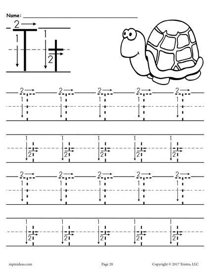 Letter T Tracing Worksheet Printable Letter T Tracing Worksheet with Number and Arrow