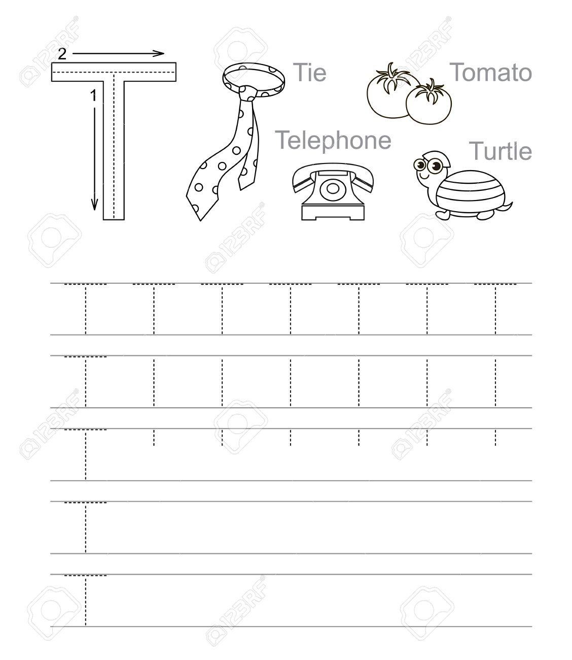 photo stock vector vector exercise illustrated alphabet learn handwriting tracing worksheet for letter t page to be col