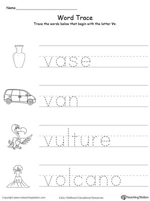 Tracing Words That Begin With Letter Sound V
