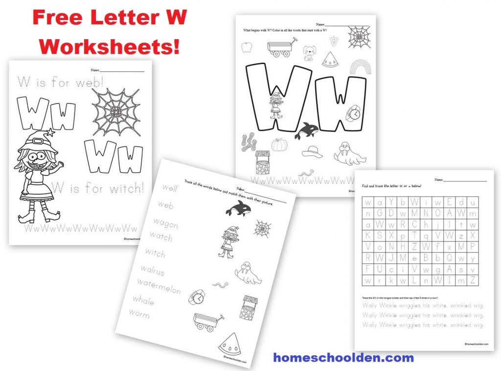 Letter W Worksheets for Kindergarten Free Letter W Worksheets Homeschool Den