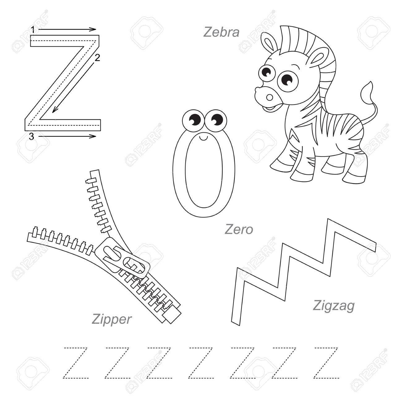 photo stock vector tracing worksheet for children full english alphabet from a to z pictures for letter z the colorless