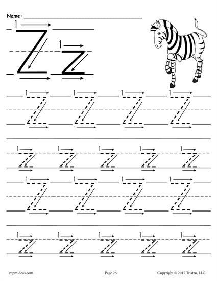 Letter Z Worksheets for Preschoolers Printable Letter Z Tracing Worksheet with Number and Arrow