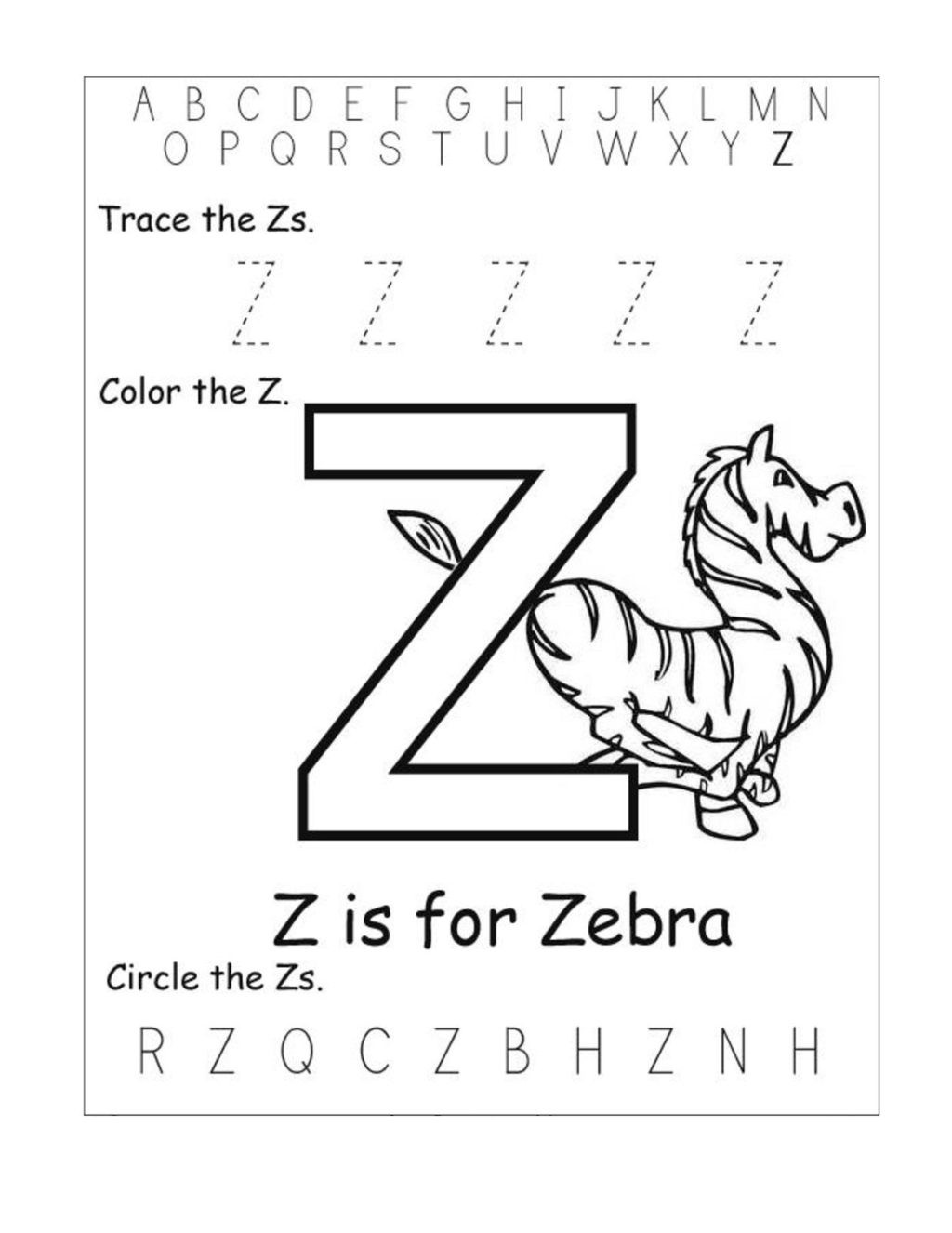 Letter Z Worksheets Preschool Worksheet Letter Z Worksheets Kids Learning Activity
