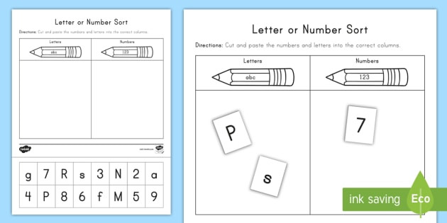 Letters and Numbers Worksheet Letter or Number sort Activity Teacher Made