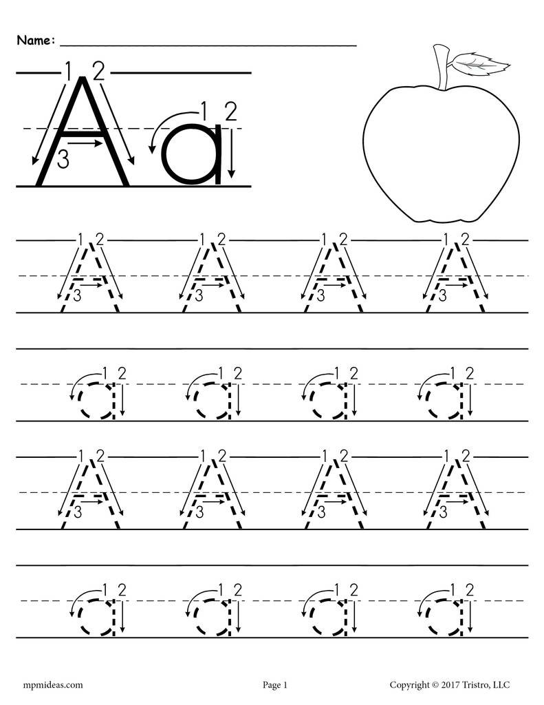 Printable Letter A Tracing Worksheet With Number and Arrow Guides