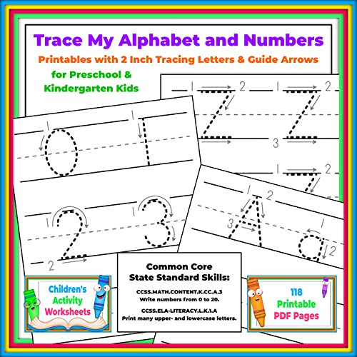Letters and Numbers Worksheets Trace My Alphabet and Numbers Printables with 2 Inch