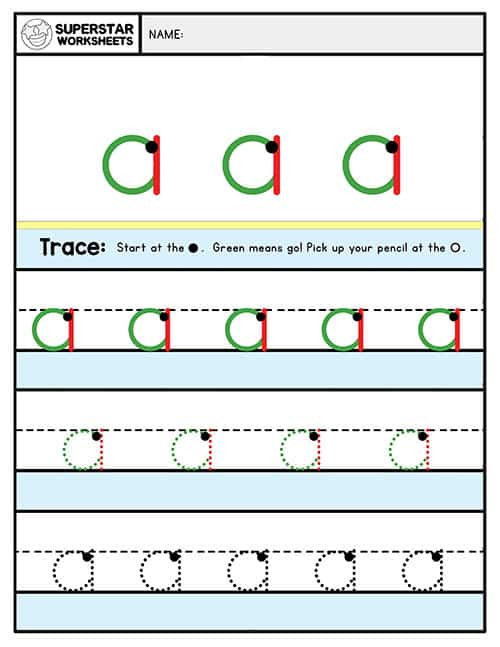 Lower Case Letter Tracing Worksheets Alphabet Writing Worksheets Lowercase Superstar Worksheets