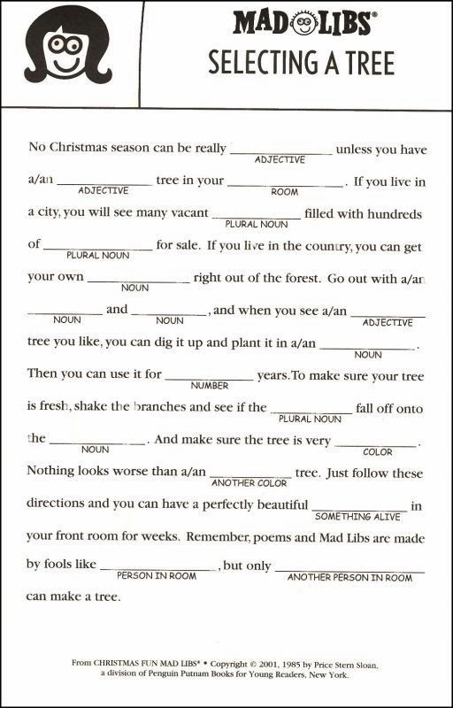 Mad Libs Printable Worksheets Christmas Mad Libs Printable Tree 2 512—800