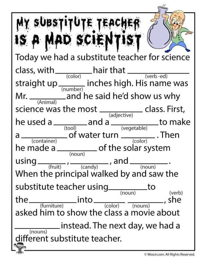 Mad Libs Printable Worksheets Idea Math Science Mad Libs Worksheets Single Digit Math
