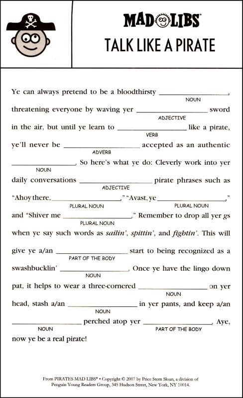 Mad Libs Printable Worksheets Pirates Mad Libs