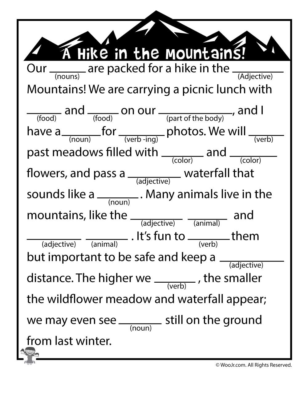 Mad Libs Printable Worksheets Summer Mad Libs Hike In the Mountains