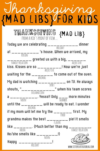 Mad Libs Printable Worksheets Thanksgiving Mad Libs Printable My Sister S Suitcase