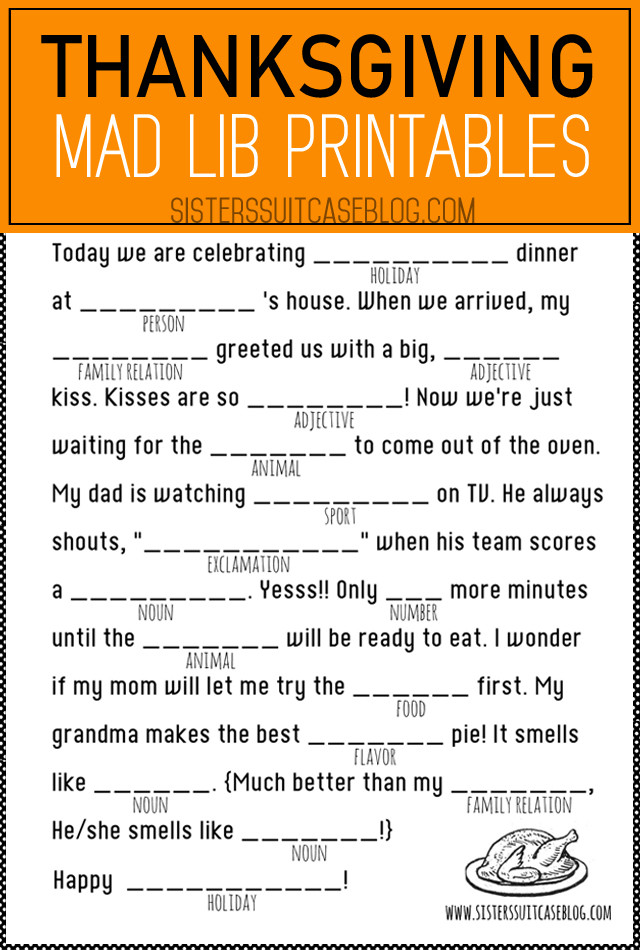 Mad Libs Printable Worksheets Thanksgiving Mad Libs Printable My Sister Suitcase Packed