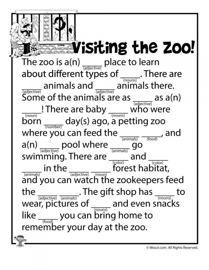 Mad Libs Printable Worksheets Zoo Mad Libs Worksheets