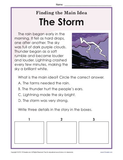 Main Idea Printable Worksheets 1st or 2nd Grade Main Idea Worksheet About Storms