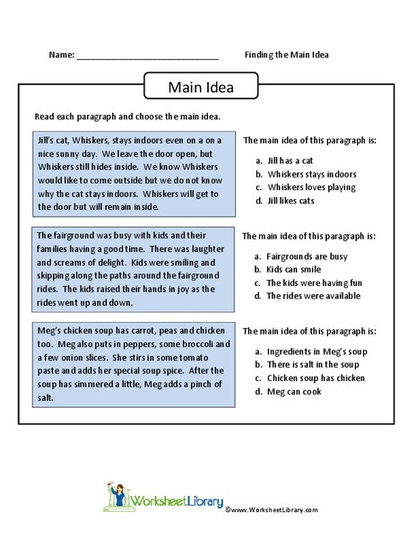 Main Idea Printable Worksheets Finding the Main Idea Worksheet for 4th 6th Grade Lesson