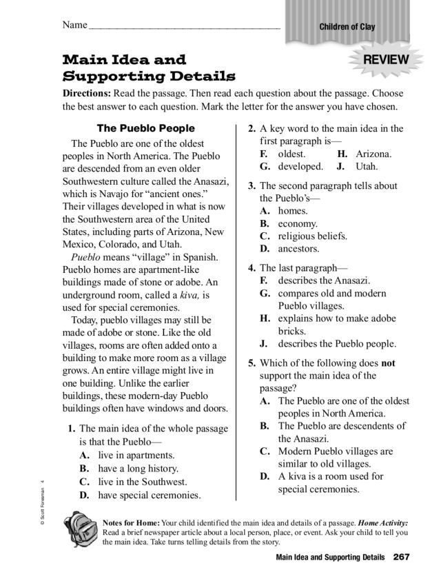 Main Idea Printable Worksheets Main Idea and Supporting Details 3rd 5th Grade Worksheet