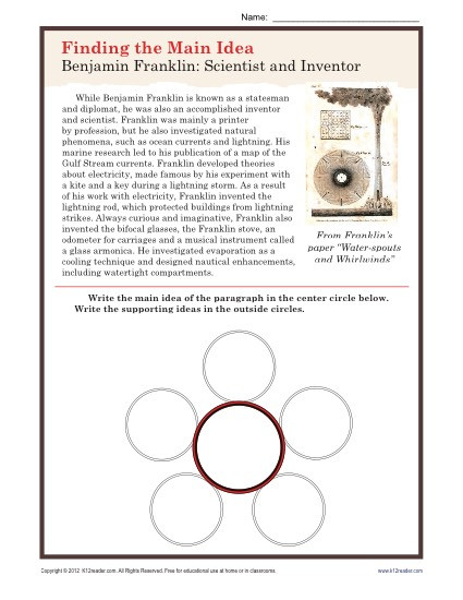 Main Idea Printable Worksheets Middle School Main Idea Worksheet About Ben Franklin