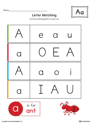 Uppercase and Lowercase Letter Matching Letter A Worksheet Color