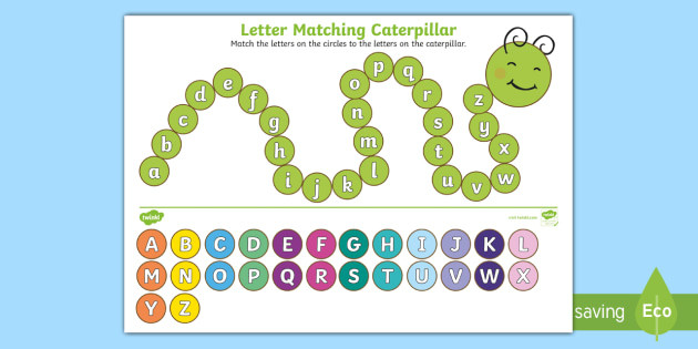 Match the Letters Worksheet Upper Case and Lower Case Letters Matching Caterpillar Worksheet