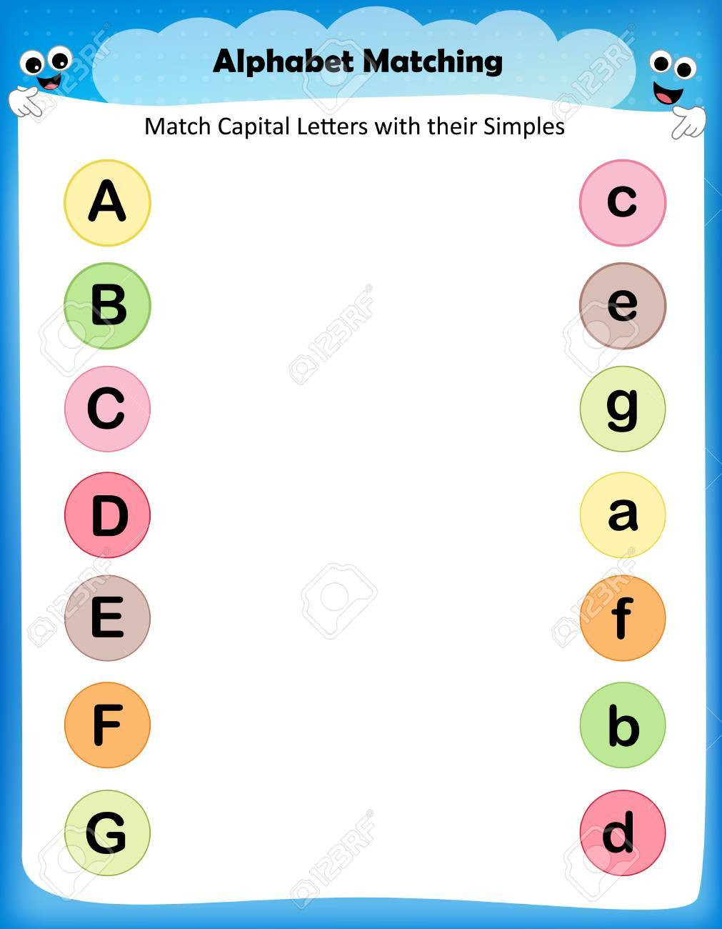 photo stock vector worksheet match capital letters with their simples