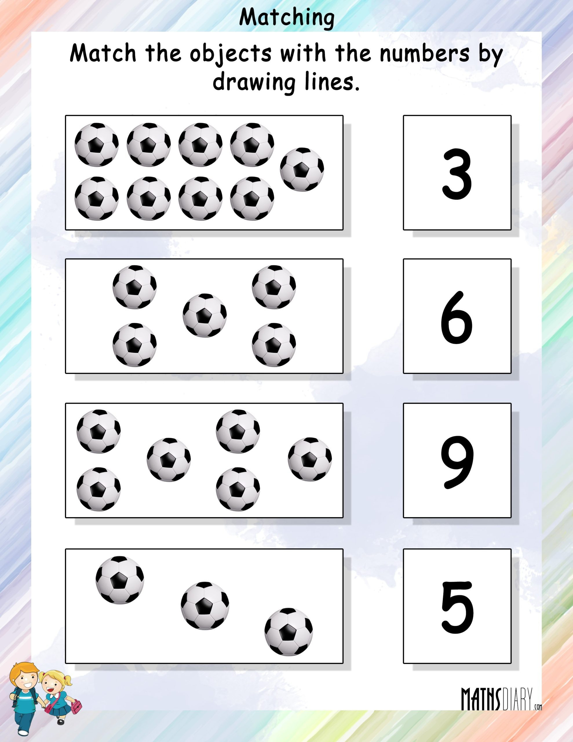 Match the Numbers Worksheet Match the Objects with Numbers Math Worksheets Mathsdiary