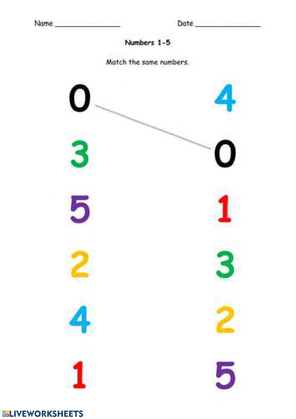 Match the Numbers Worksheet Number 1 5 Matching Worksheet
