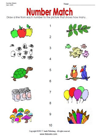 Match the Numbers Worksheet Number Match