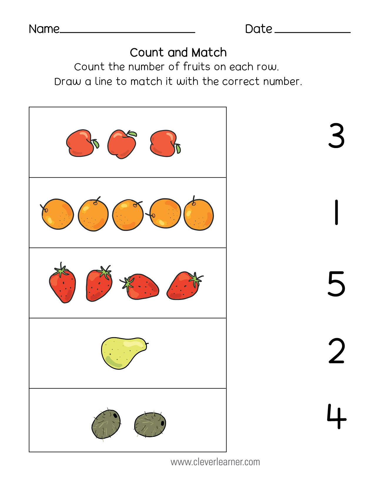 Match the Numbers Worksheet Number Matching Counting and Number Writing Worksheets