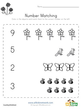 Match the Numbers Worksheet Spring Number Matching Worksheet