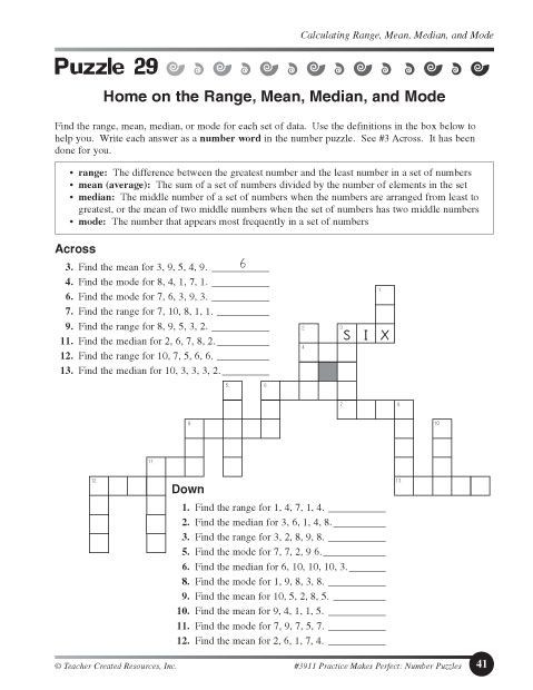 Mean Median Mode Printable Worksheets Education World Home On the Range Mean Median and Mode
