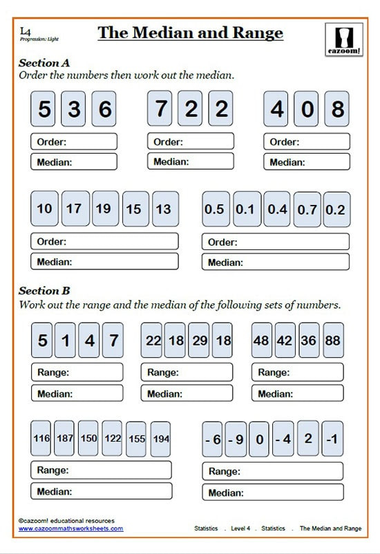 Mean Median Mode Printable Worksheets Mean Median and Mode Worksheets