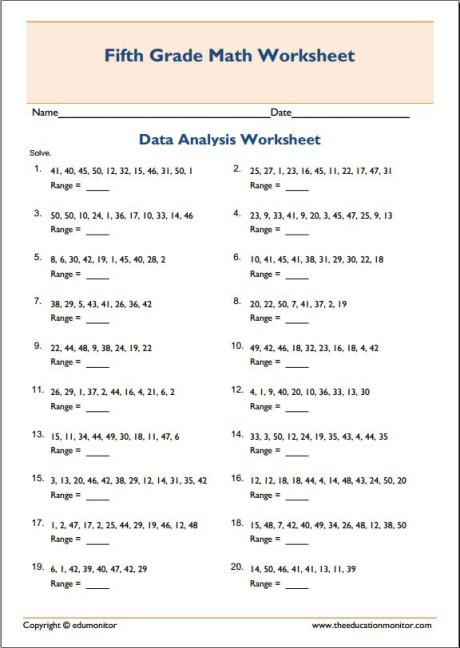 Mean Median Mode Printable Worksheets Mean Median Mode Range Math Worksheets