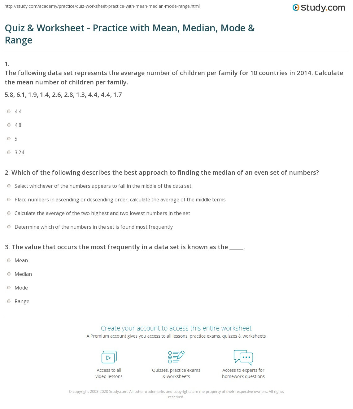 Mean Median Mode Printable Worksheets Quiz & Worksheet Practice with Mean Median Mode & Range