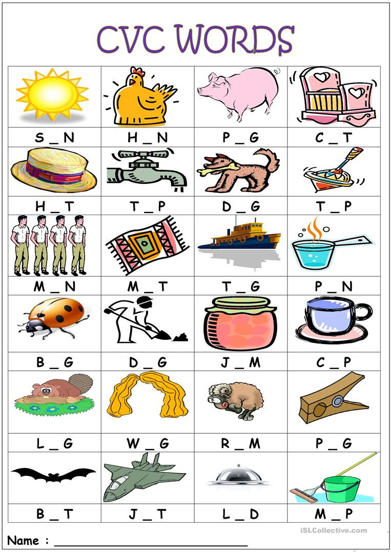 Middle sounds Worksheets Printable Cvc Words Medial sounds English Esl Worksheets for