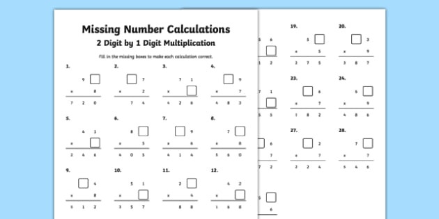 t2 m 1704 missing number calculations 2 digits by 1 digit multiplication activity sheet