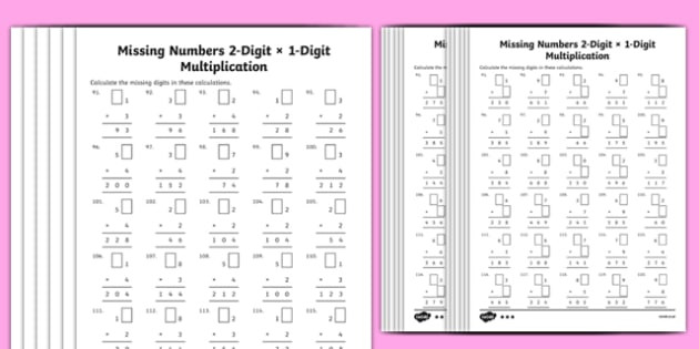 t2 m 1702 multiplication 2 digit x 1 digit missing numbers differentiated activity sheets