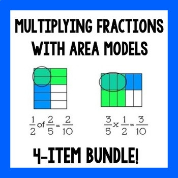 Multiplying Fractions with Area Models 4 item Bundle
