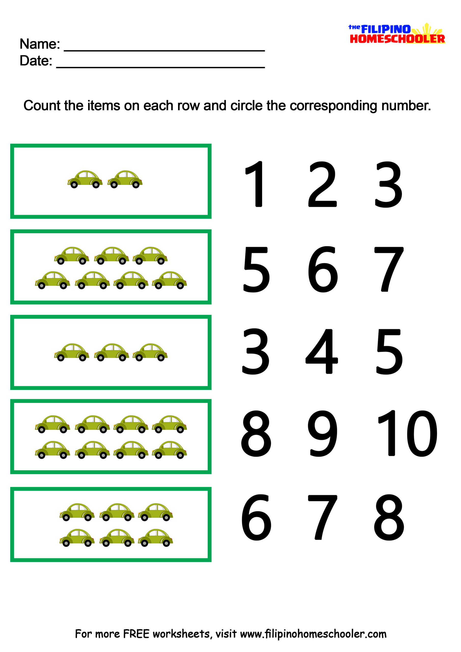 Multiple Choice Math Worksheets Number Recognition Worksheets the Filipino Homeschooler