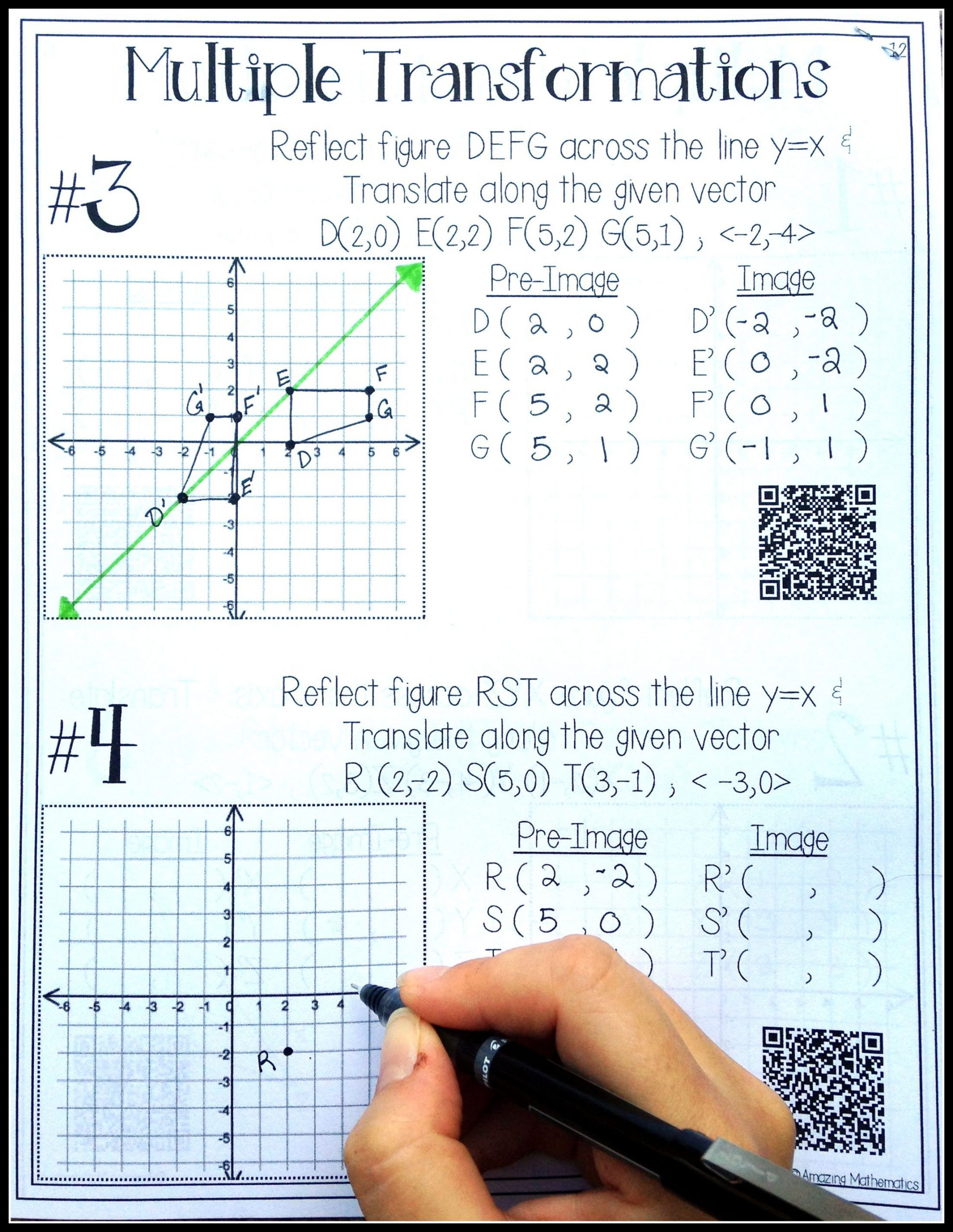 Multiple Transformations Worksheet Answers Hs Geometry Transformations Workbook Translations