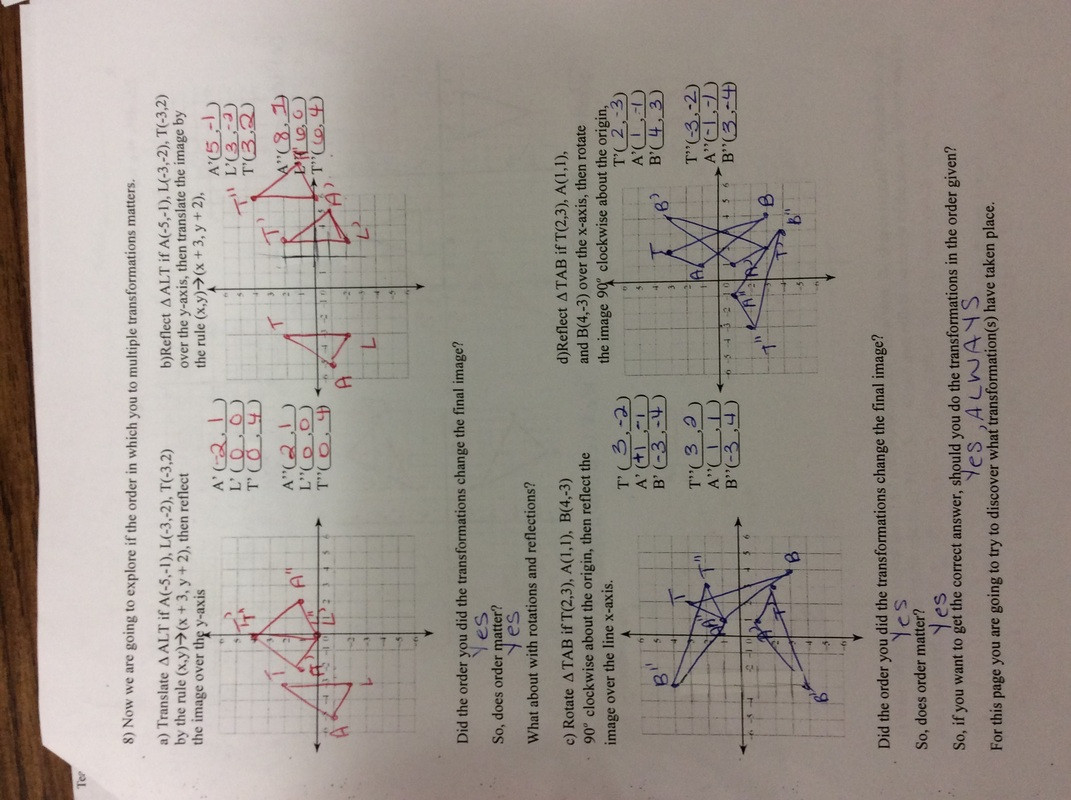 Multiple Transformations Worksheet Answers Mon Core Math 8 Math with Mrs Hess