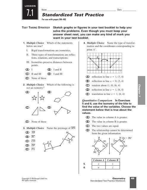 Multiple Transformations Worksheet Answers Rigid Motion In A Plane Worksheet